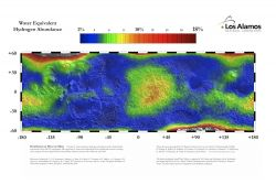 The neutron spectrometer aboard Mars Odyssey mapped the amount of water-equivalent hydrogen in the Martian subsurface. Scientists use hydrogen content as a means of determining how much water ice lies in the ground. This map shows Mars between 60° north and south. (NASA/Los Alamos National Laboratory)