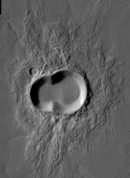 "Nothing says ""unusual"" so well as a doublet crater or an oblique crater or a combo doublet-oblique crater. (NASA/JPL-Caltech/Arizona State University)"